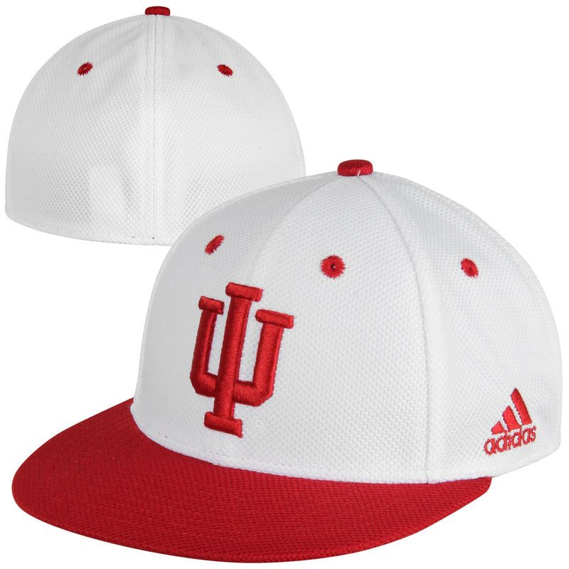 more photos 6b5c0 87e99 adidas Indiana Hoosiers On-Field Mesh Fitted Performance Baseball Hat -  White Crimson