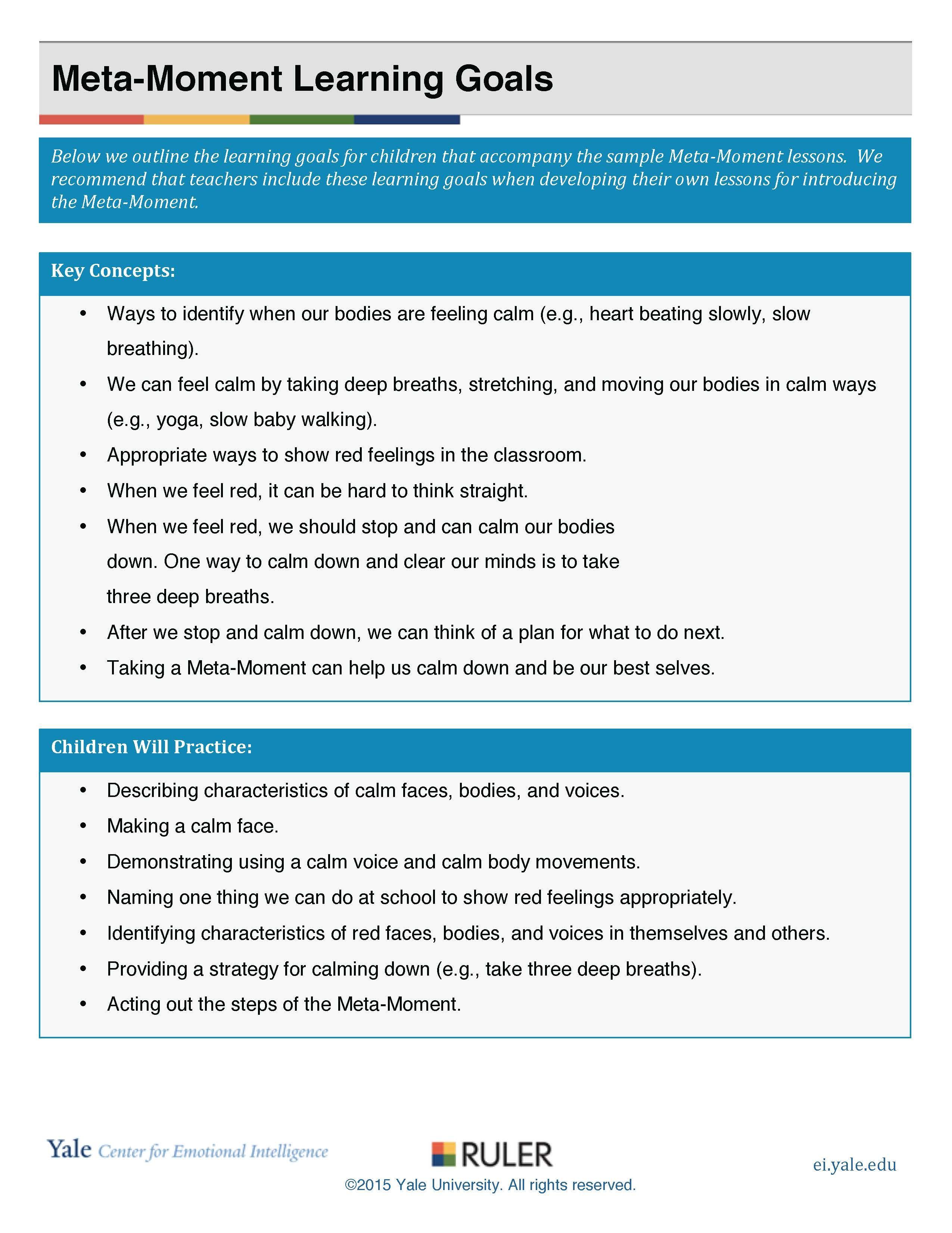 Meta Moment Learning Goals1 Preschool
