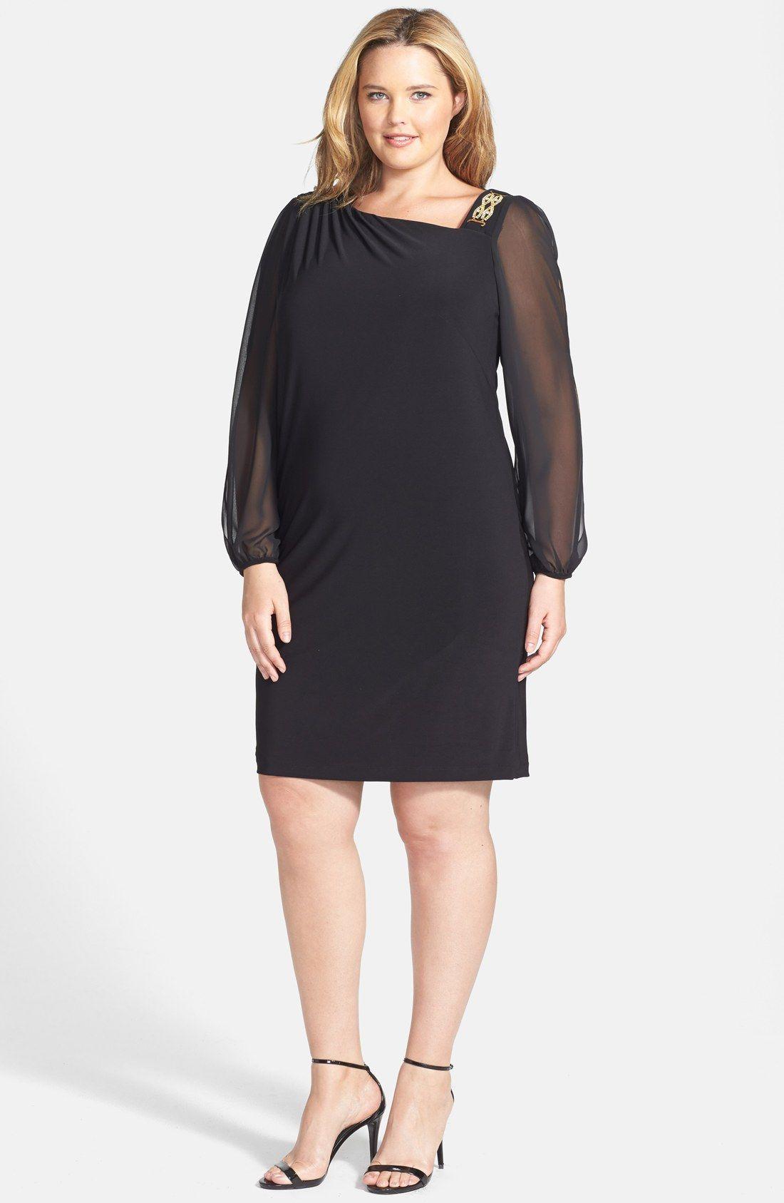 Betsy & Adam Chiffon Sleeve Embellished Cocktail Dress (Plus Size ...