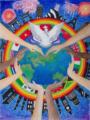 Casey Trinh 2016 17 Merit Award Winner Peace Poster Peace Drawing World Peace Day