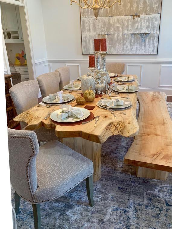 Sale Wood Table Live Edge Table Maple Table Wood Table Rustic Table Dining Tabl Dining Table In Kitchen Live Edge Dining Table Slab Dining Tables