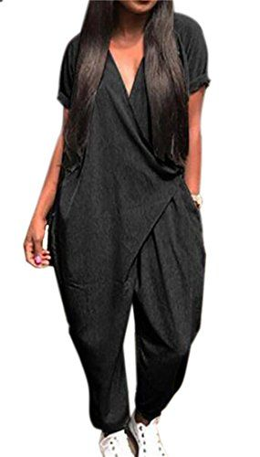 d5f59f7f9b4 CRYYU-Women Plus Size Short Sleeve Baggy Loose Harem Jumpsuits Rompers