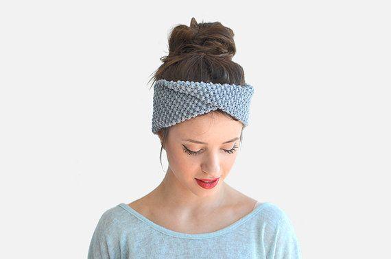 Womens Ear Warmer Winter Headband Knit Hair Accessory Grey Ear