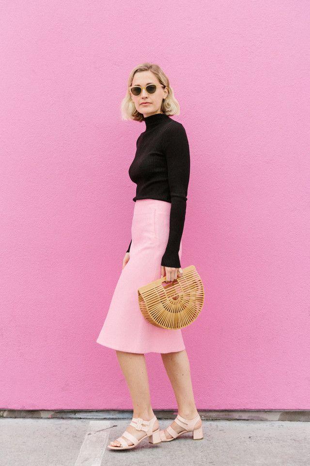 421d05b278 On Haley Boyd: H&M Rib-Knit Sweater ($20); COS skirt; Marais Jardin Heels  in Blush ($225); Cult Gaia Gaia's Ark Bag ($118).