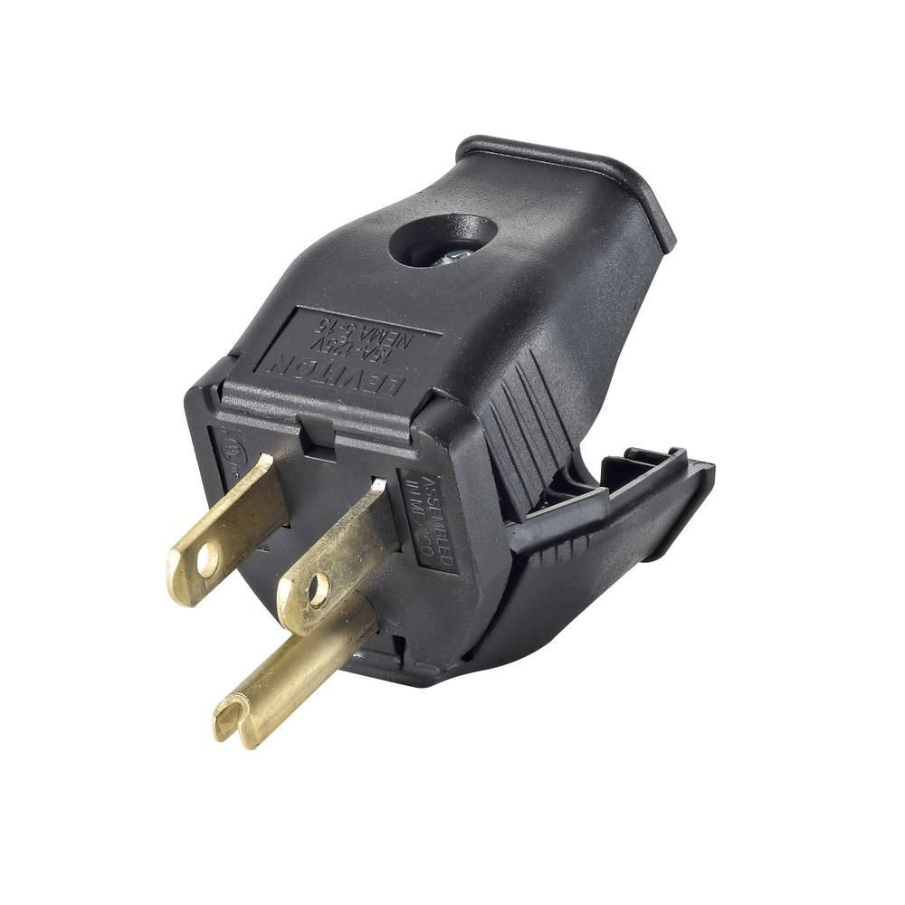 Leviton 15 Amp 125 Volt Double Pole 3 Wire Grounding Plug Black R50 3w101 00e Leviton Plugs Things To Sell