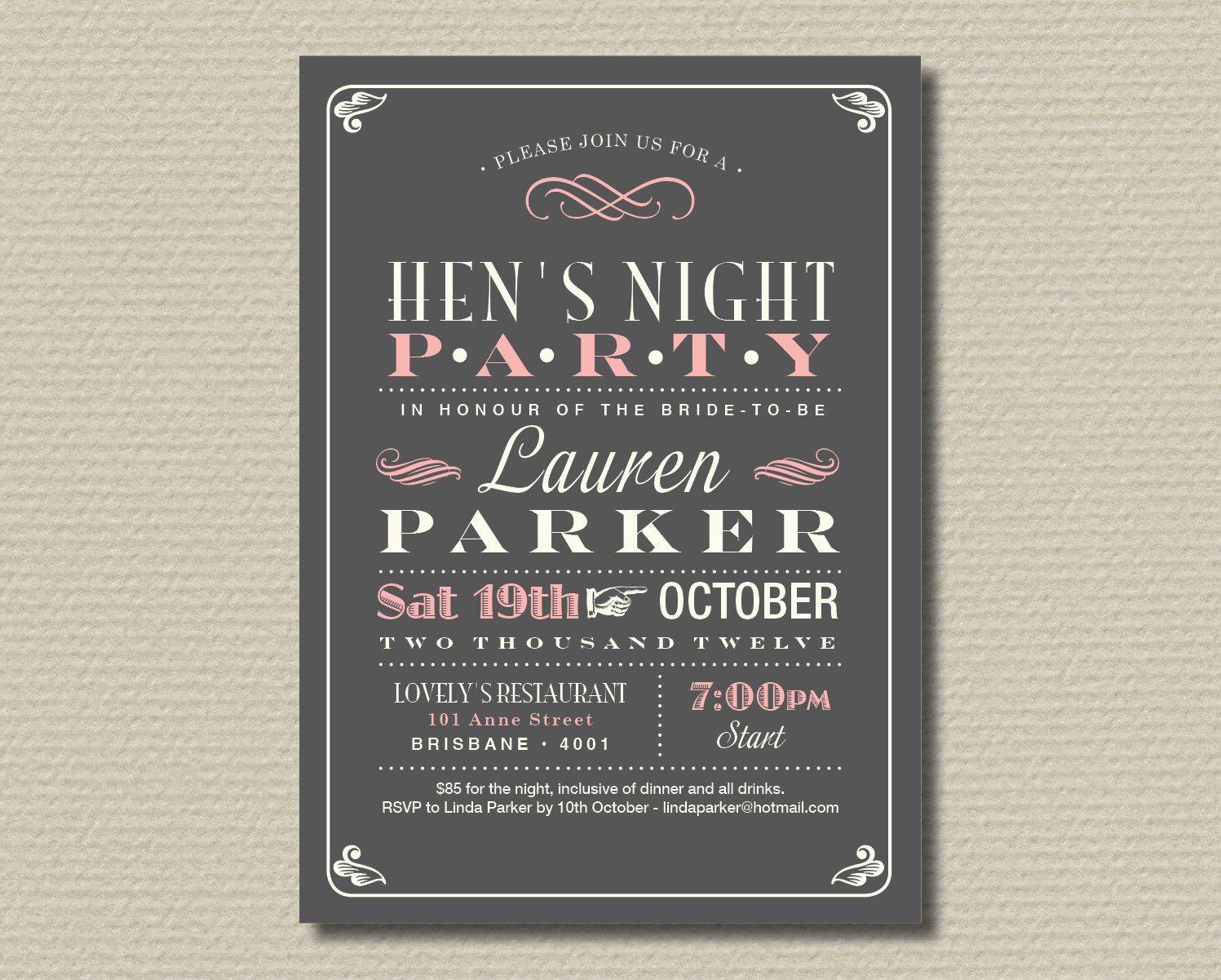 Printable Hen\'s Night Invitation Poster Design by rosiedaydesign ...