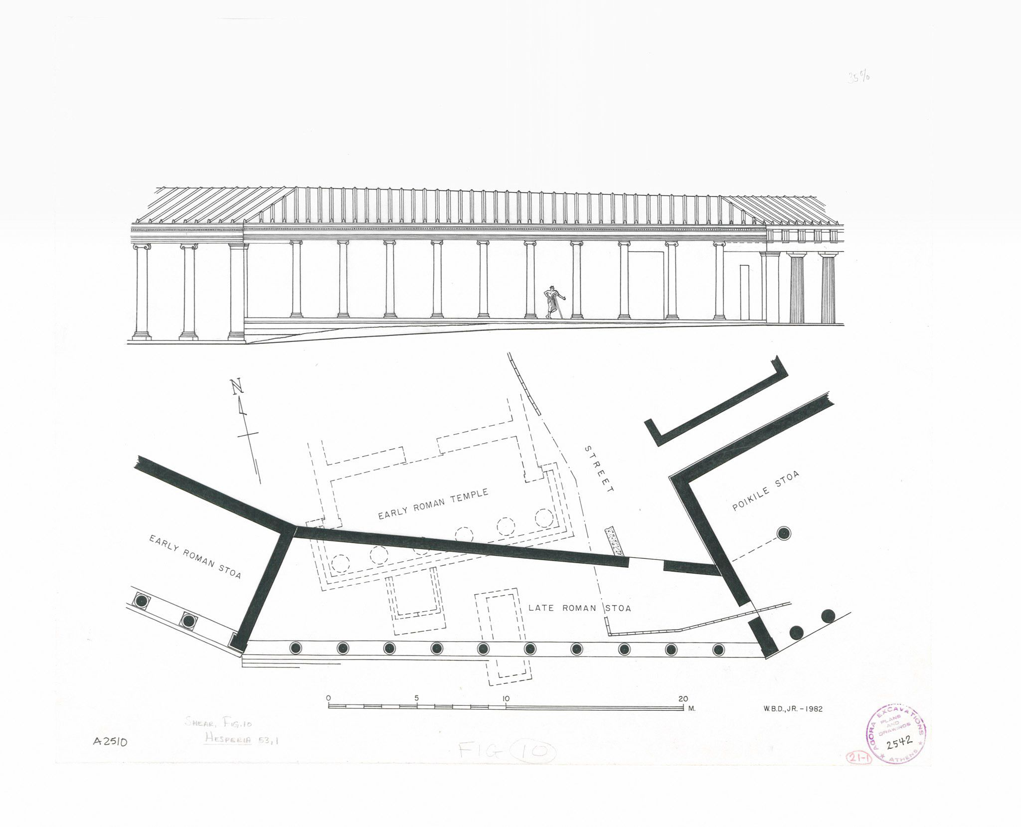 Plan And Restored Elevation Of The Poikile Stoa Late Roman And