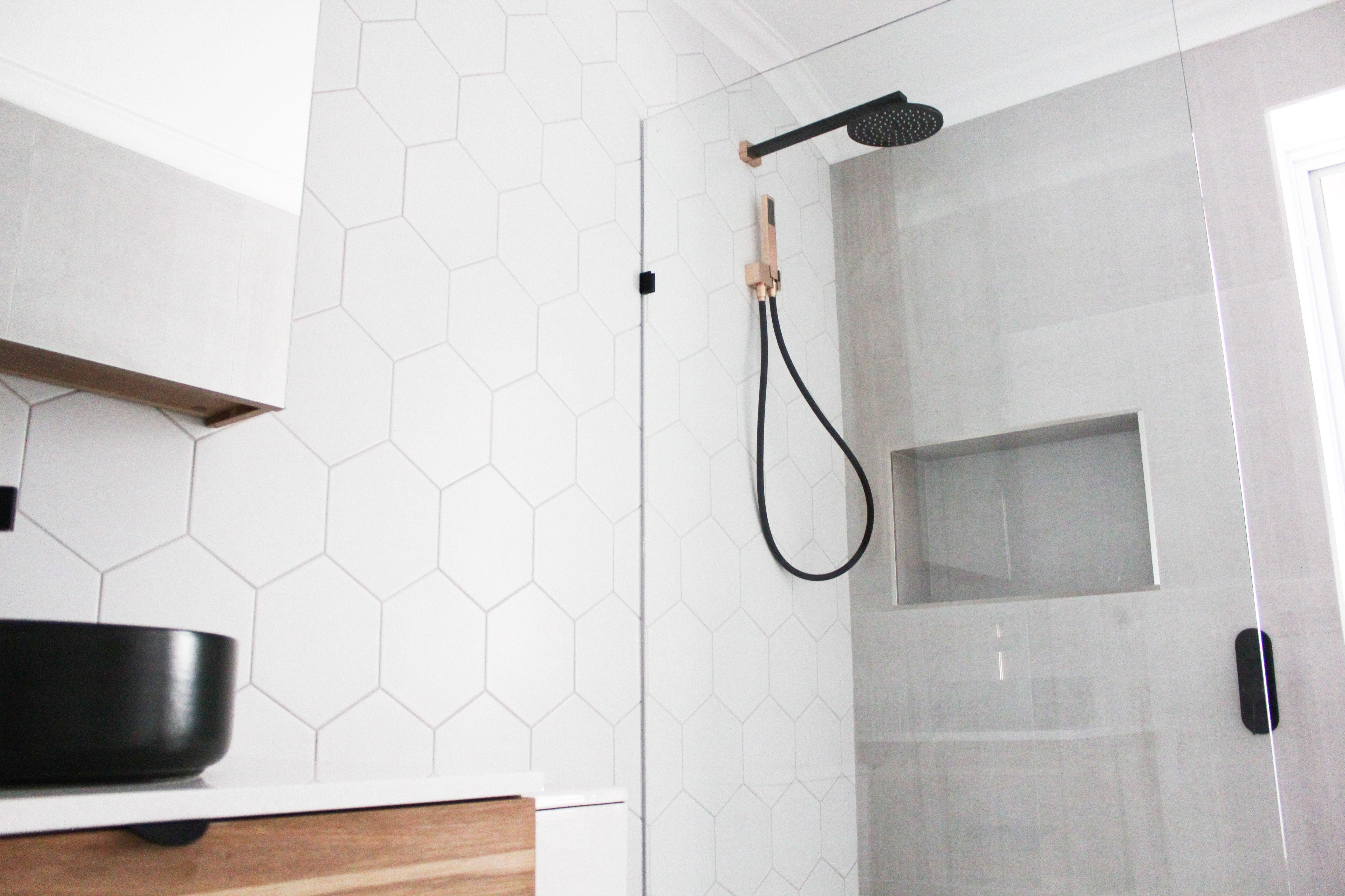 Hexagon Bathroom Tiles Hexagon Tiling Shower Recess Dark Wood
