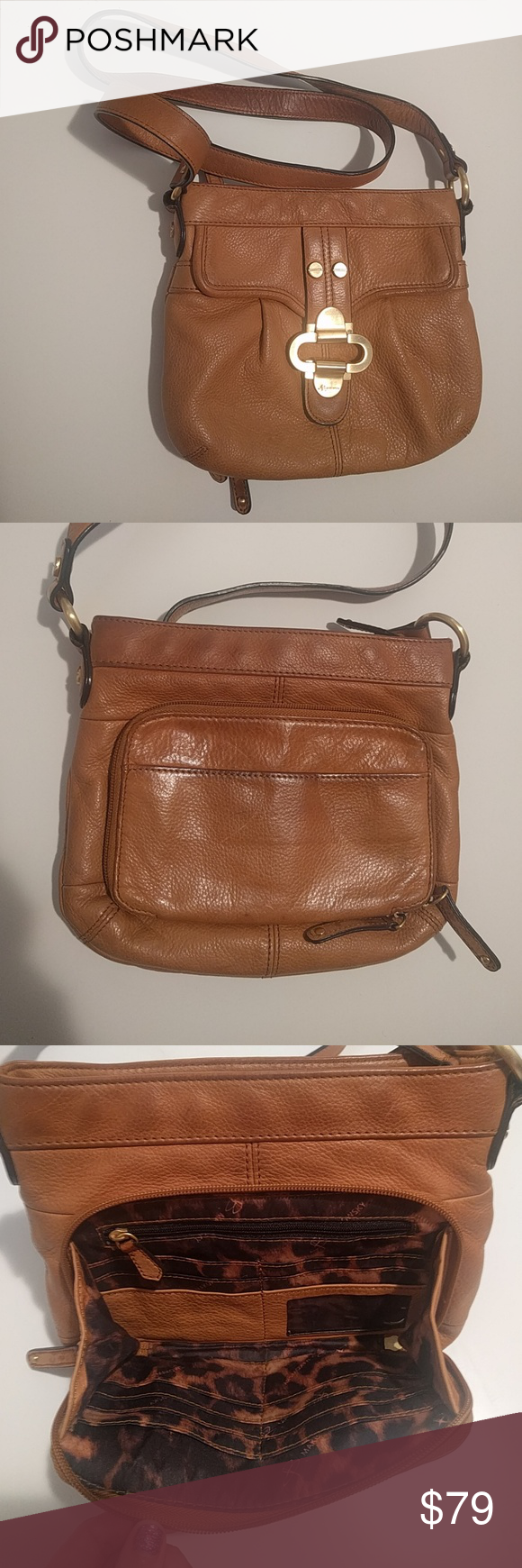 B. Makowsky crossbody bag Tan leather purse with built-in wallet in back. Some of the leather is darkened from use, but there are no tears. b. makowsky Bags Crossbody Bags