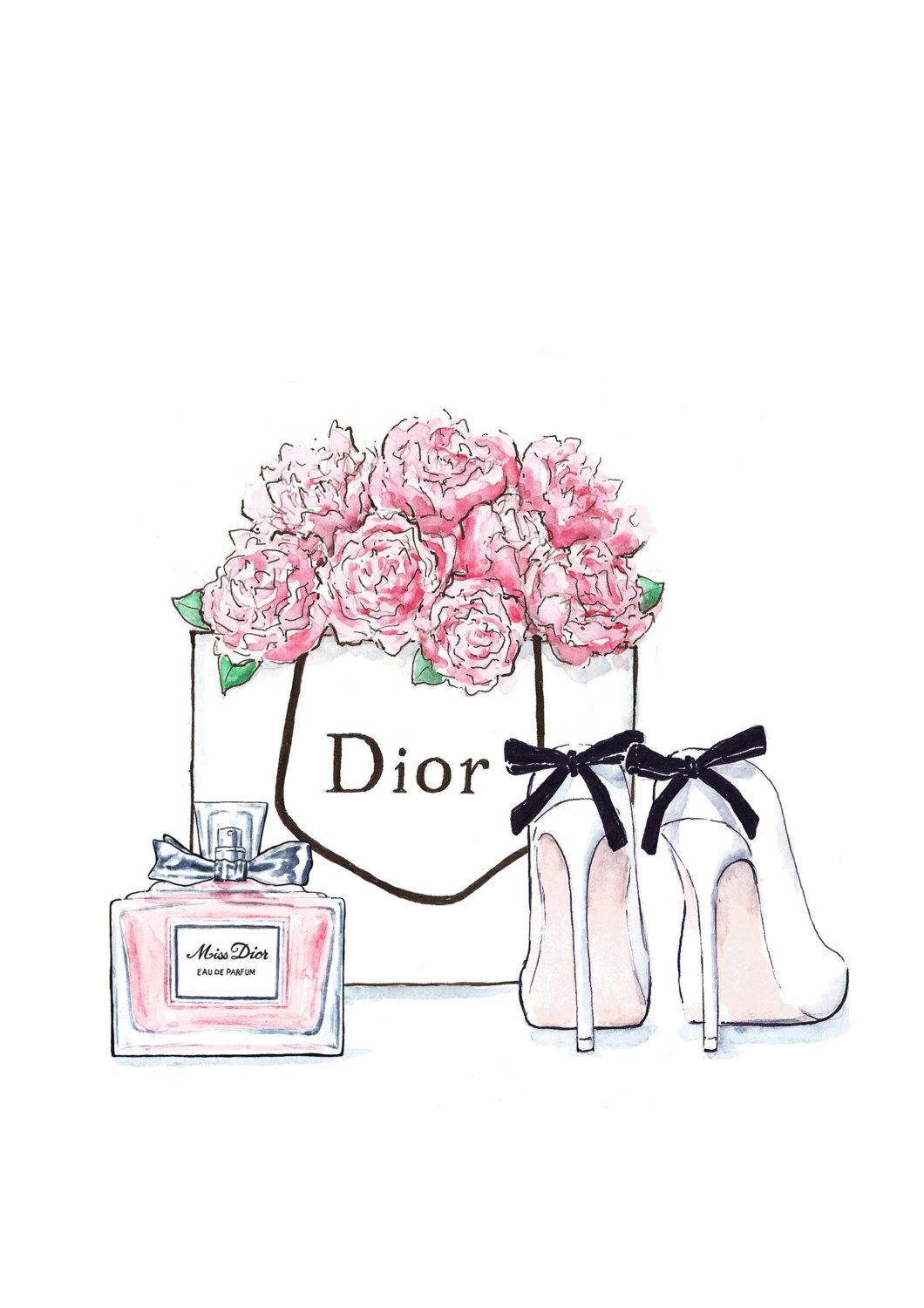Fashion illustration Dior flowers, shoes and perfume