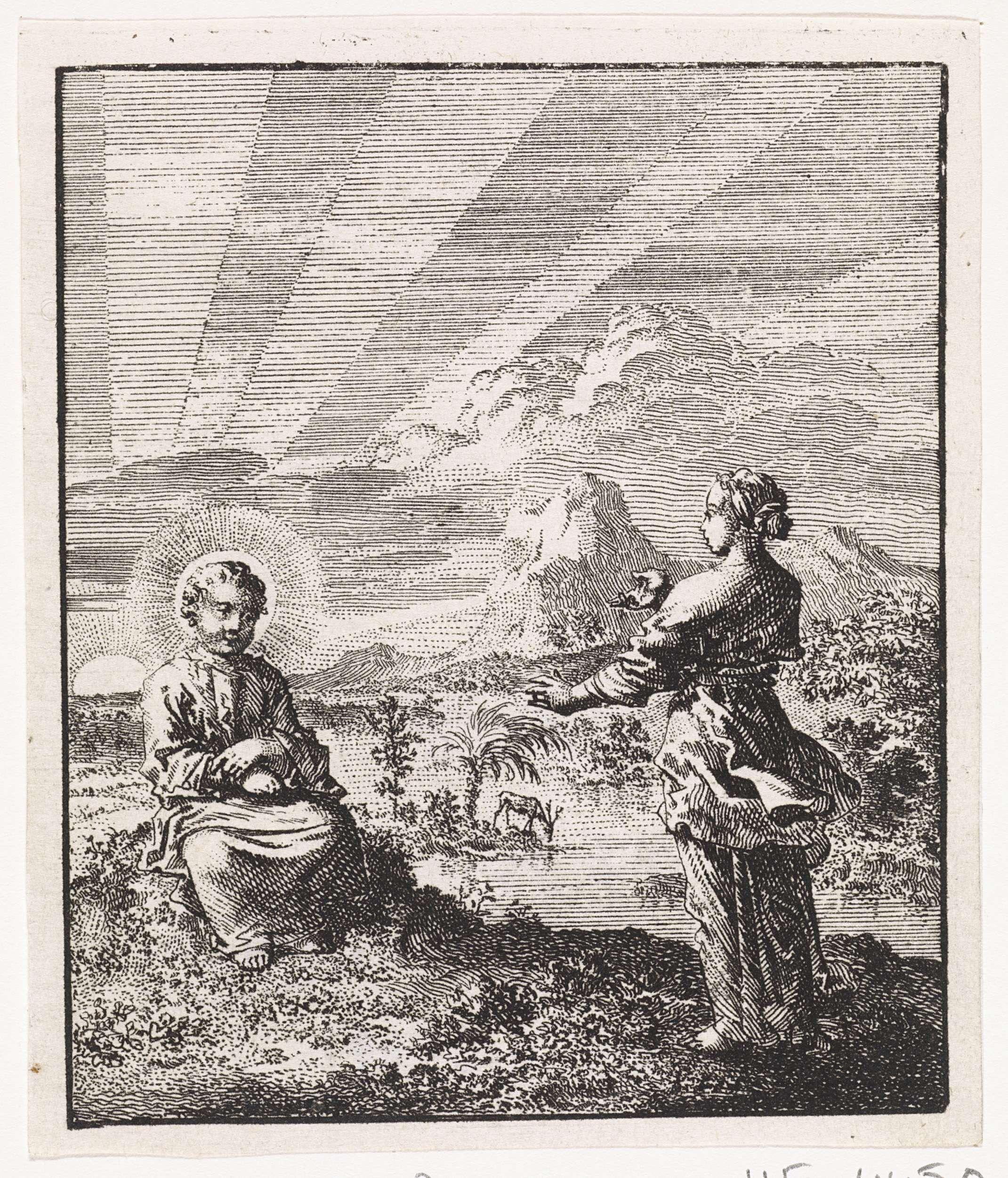Jan Luyken   Christus en de gepersonifieerde ziel aanschouwen de opkomende zon, Jan Luyken, 1714  