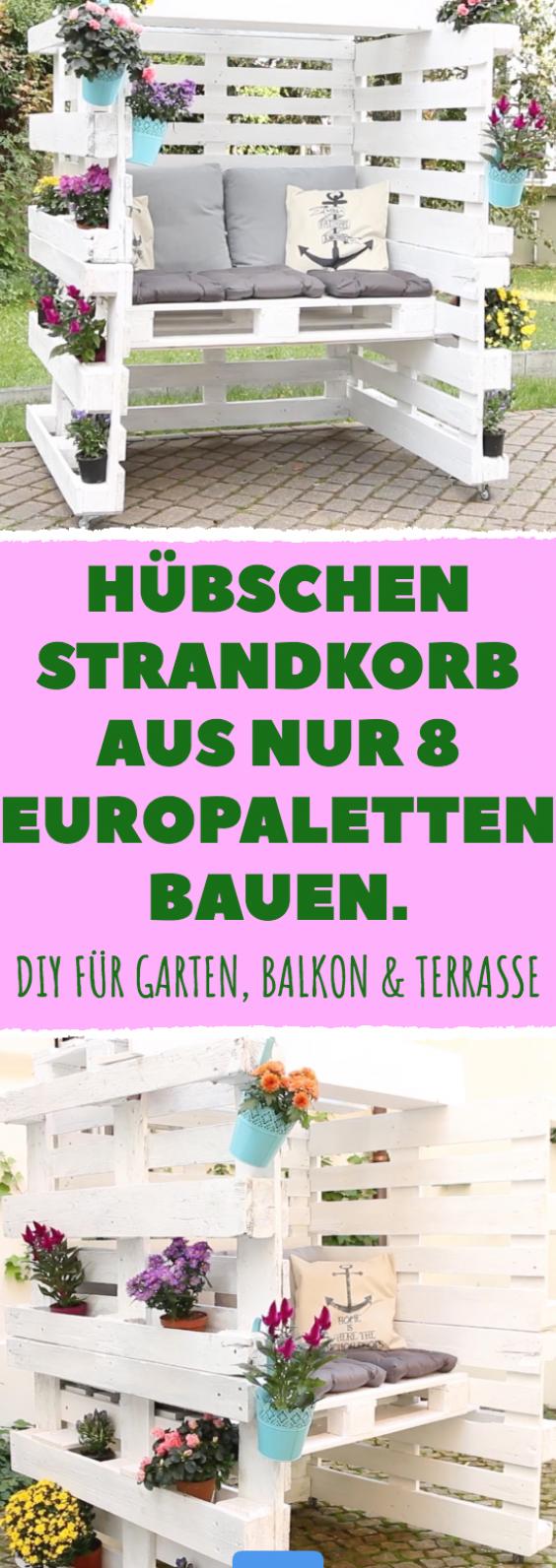 H Bschen Strandkorb Aus Nur 8 Europaletten Bauen Diy F R Garten Balkon Terrasse Diy Bauen Strandkorb Europale Pallet Diy Pallets Garden Pallet Decor