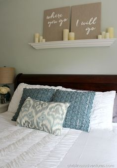 Above The Bed Add A Shelf Canvas Word Art Led Candles On Timer