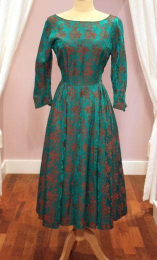 40s Brocade Jade/Red Floral Dress