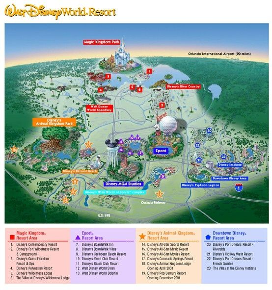 Walt Disney World theme parks and resorts map | Kentucky State Parks ...