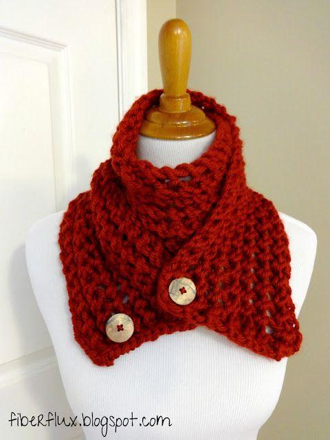 Free Knitting Pattern...Cinnabar Button Scarf!   Button scarf