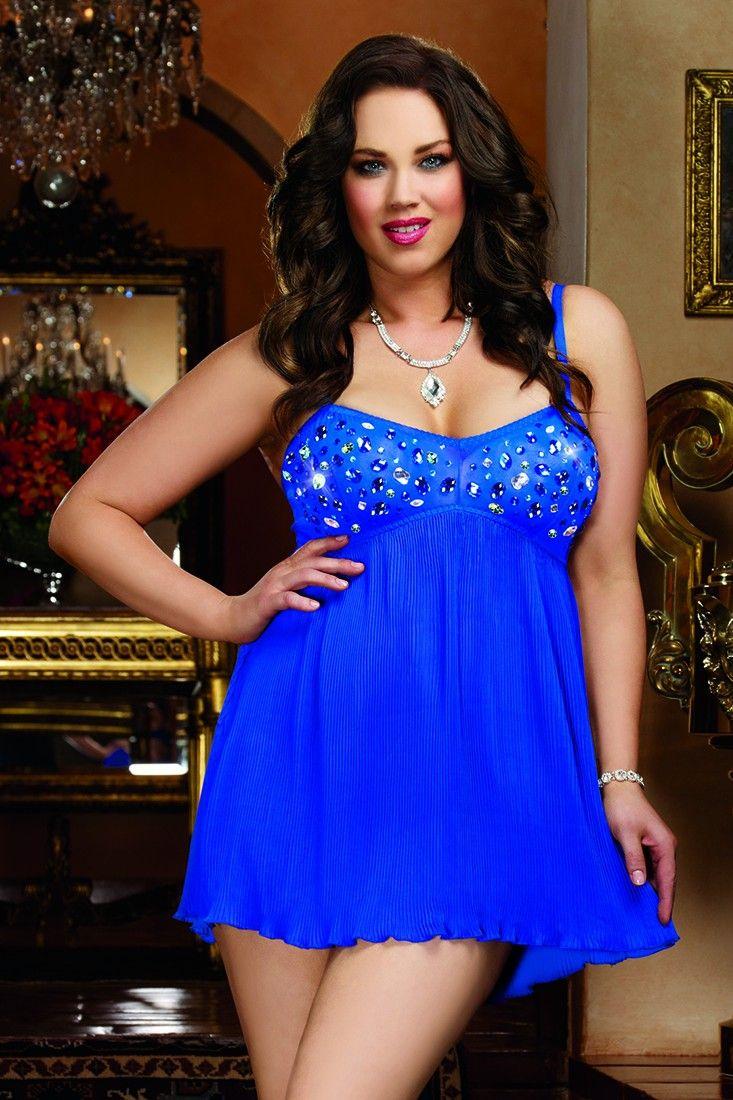 73c6695ef Large multi-colored jewel rhinestone embellished stretch mesh babydoll with  pleated chiffon skirt