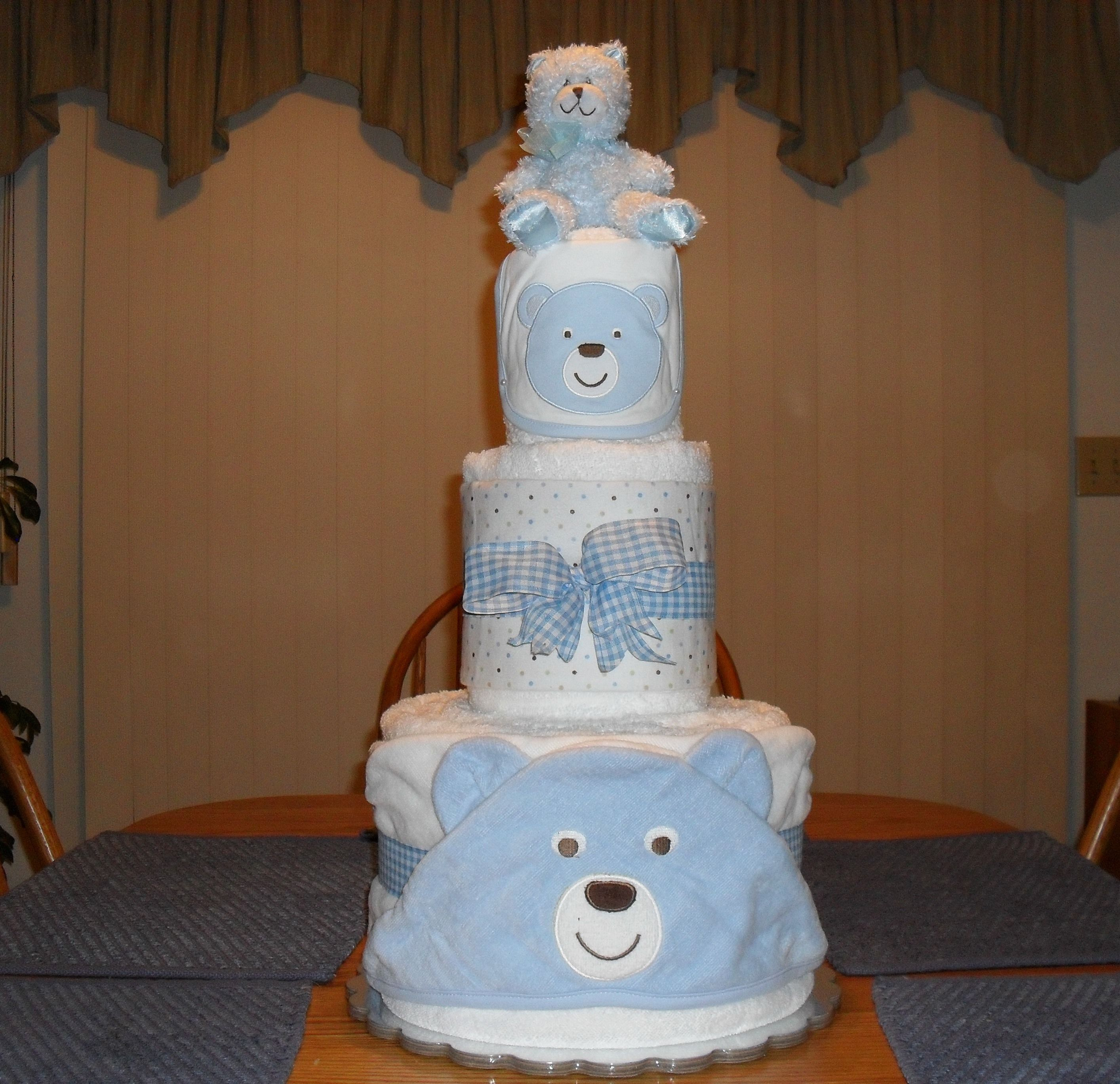 Towel cake for L's baby shower.....my first attempt at a