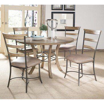 Charleston 5 Piece Round Wood Dining Table Set With Ladder Back