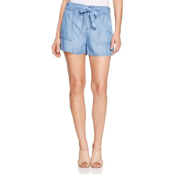 Soft Joie Mireille Chambray Shorts ($148) ❤ liked on Polyvore featuring shorts, vintage chambray, soft joie, chambray shorts and vintage shorts