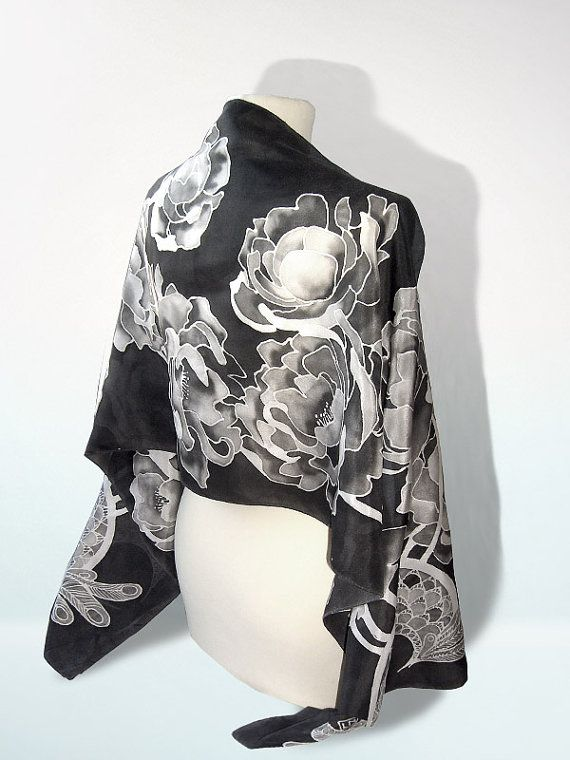 Back scarves Peony silk scarf hand painted foulard by MinkuLUL