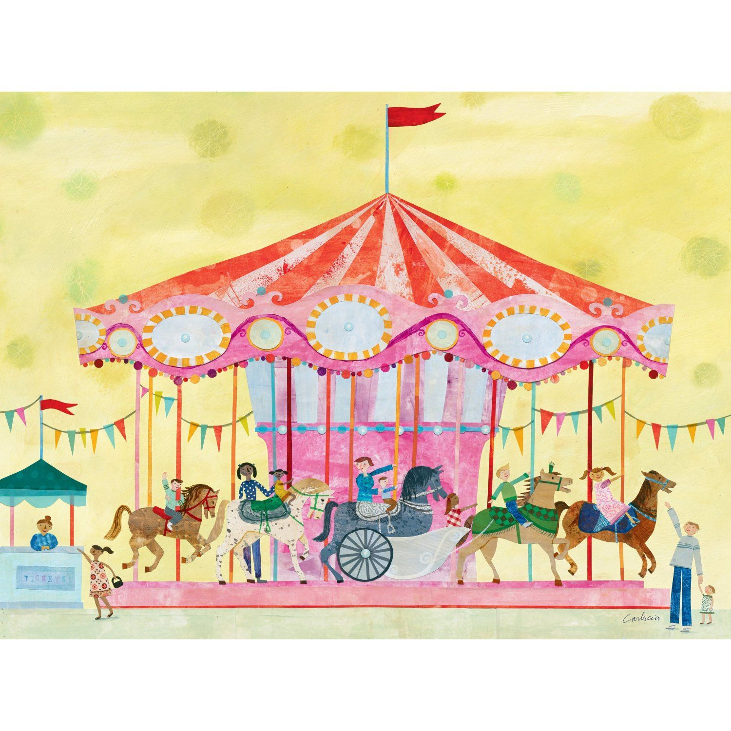 Oopsy Daisy Carousel Stretched Canvas Wall Art by Maria Carluccio ...