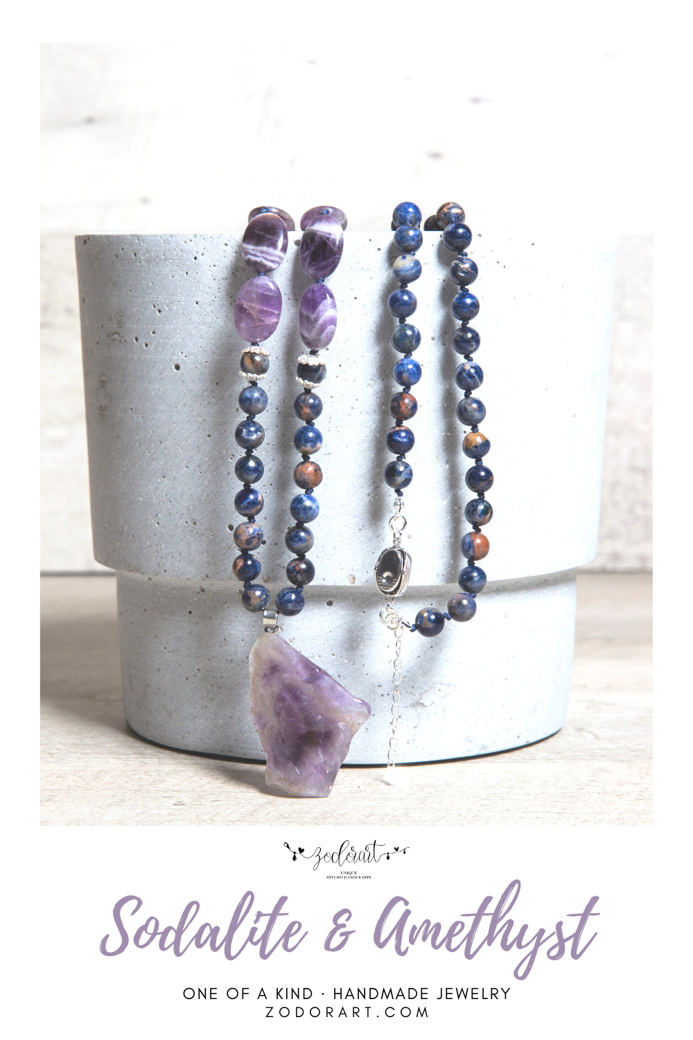 Summer jewelry in boho style Raw Crystal Necklace in natural amethyst nuggets Bead raw Amethyst Necklace Sterling Silver gift for woman