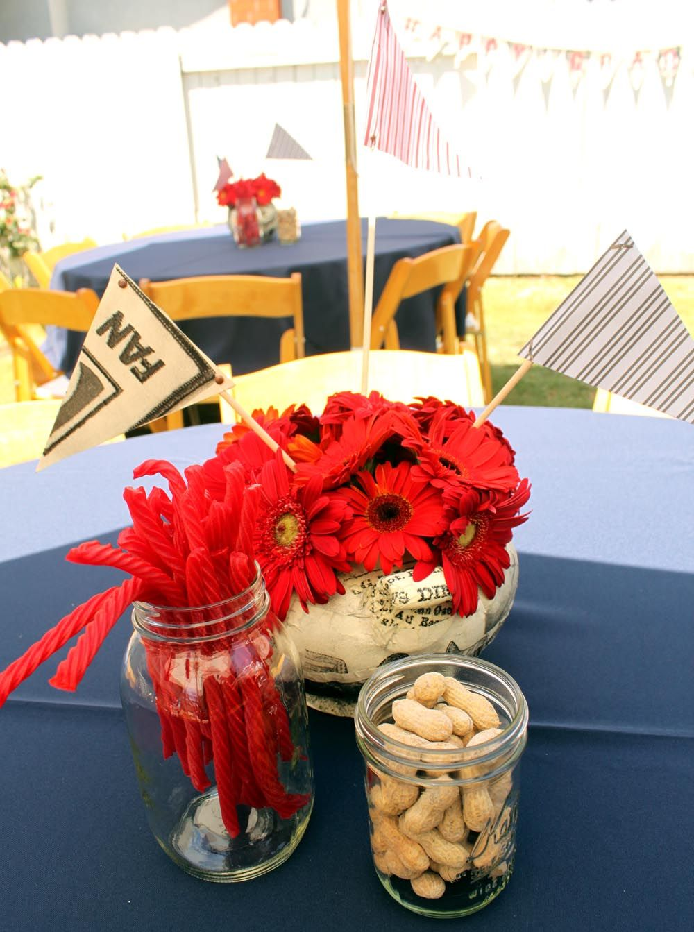 Sports themed graduation party baseball party centerpieces