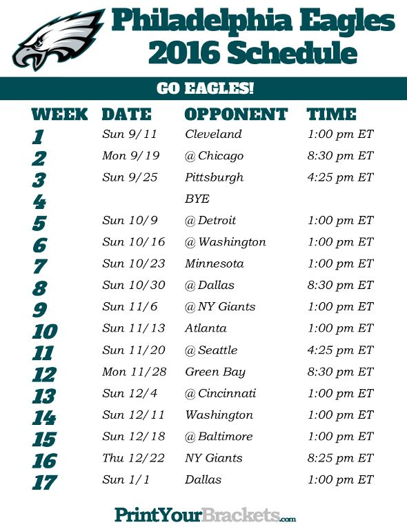 graphic about Philadelphia Eagles Printable Schedule identified as Printable Philadelphia Eagles Agenda - 2016 Printable