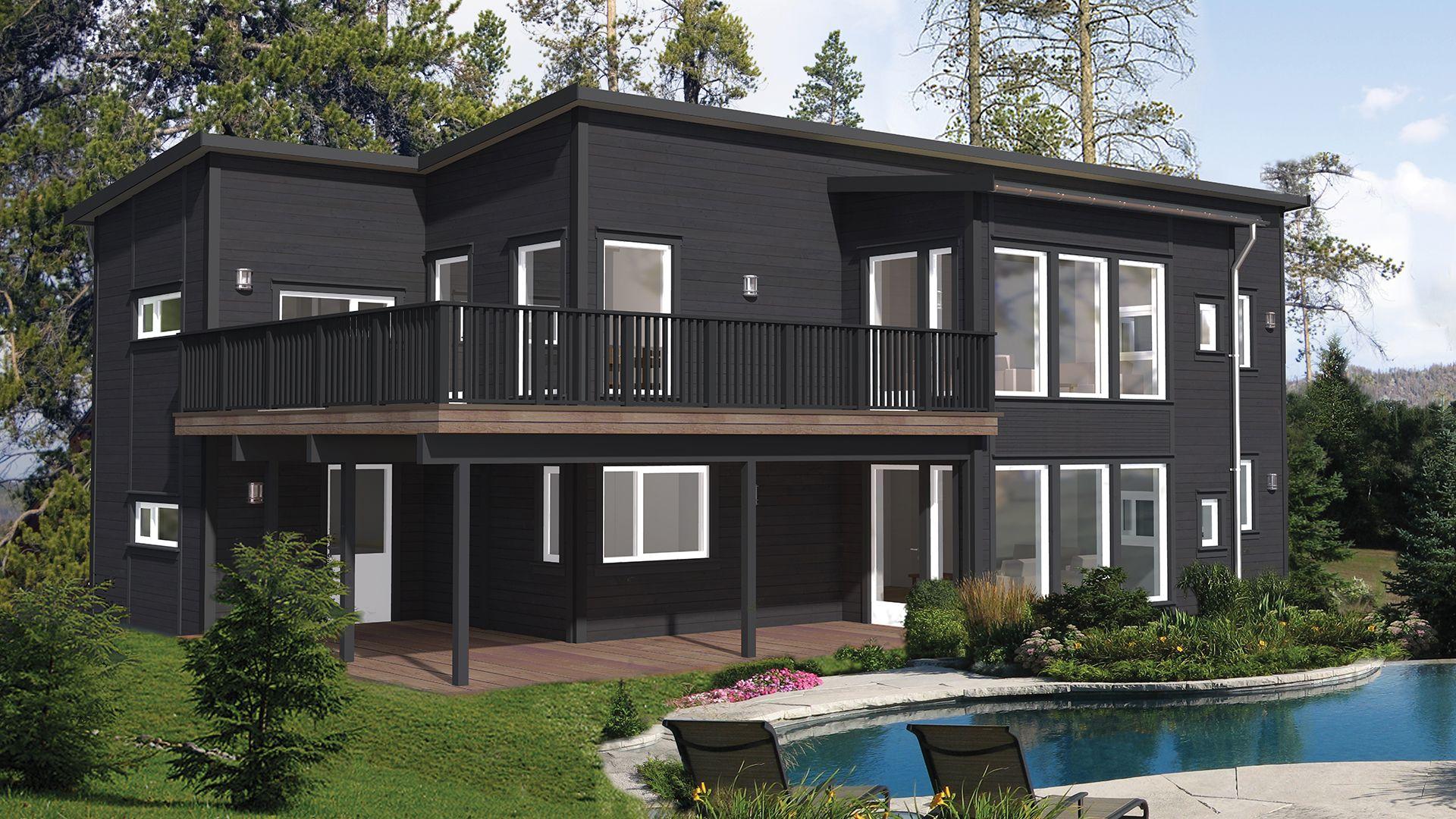 Aurora kjennetegnes av rene og stramme linjer. Dette er en bolig som imponerer med sin størrelse og sine interessante, særegne detaljer. De store vindusflatene og spennende vinklene gjør huset til noe helt eget.  2.etasje får en åpen løsning med en stor og nydelig veranda som følger deg helt fra stuen til det romslige kjøkkenet.