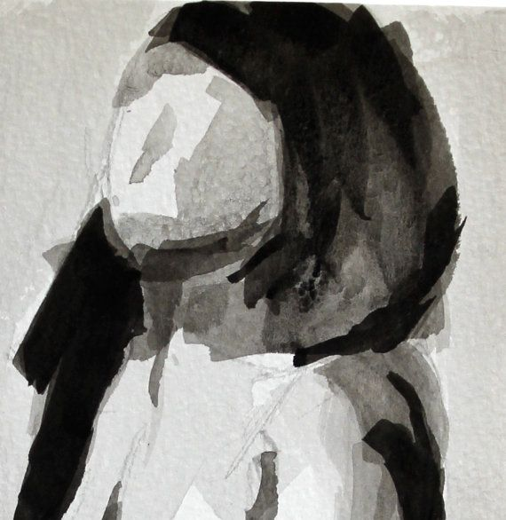 Nude Female Figure Seated Front - Original Ink Drawing (Mature - copy what is blueprint paper called