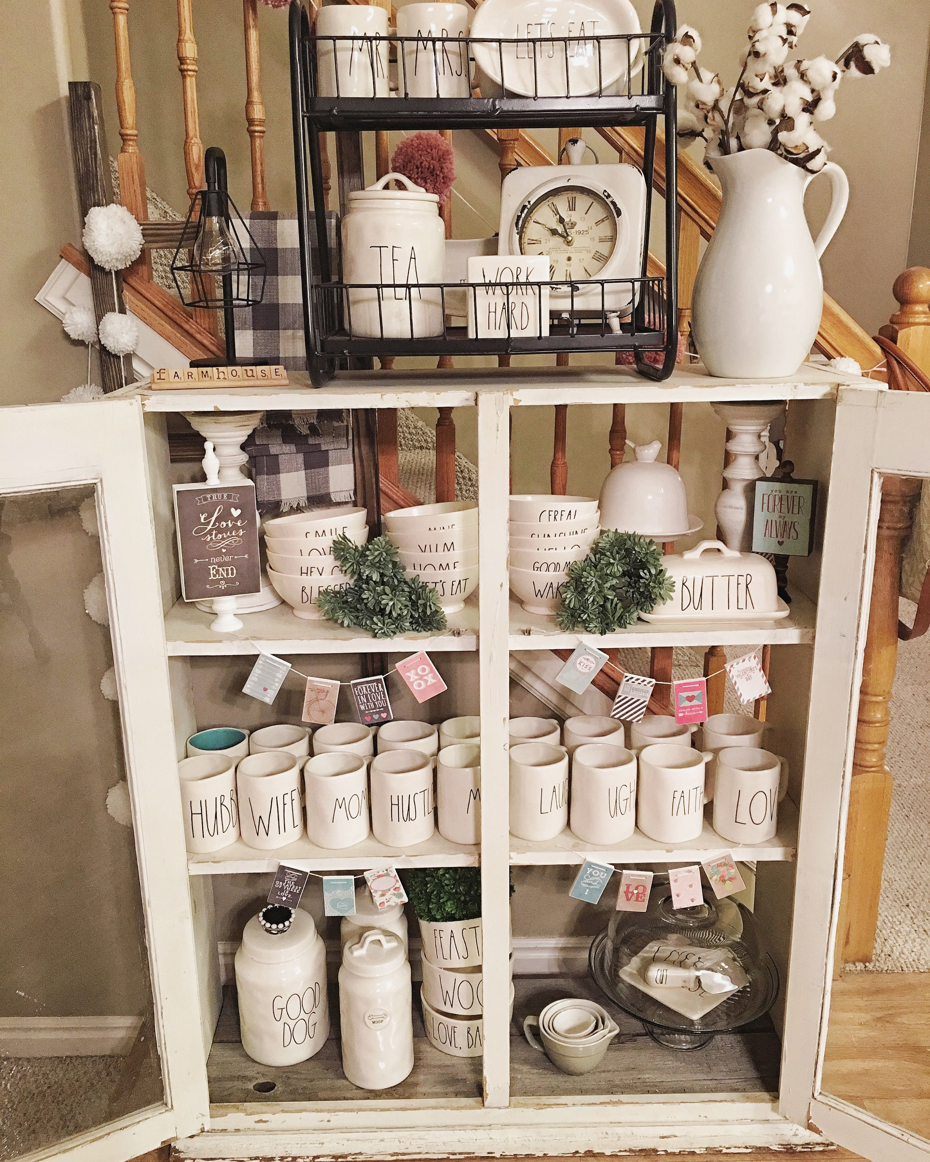 My Rae Dunn Display In My Home Great Deocrating Idea For Farmhouse French Country Modern Country Fixer Upper And Cottage Decor