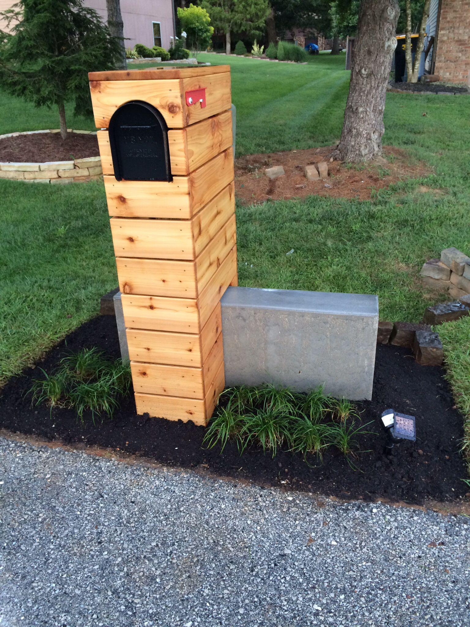 Modern mailbox idea Cedar horizontal fence rustic modern concrete
