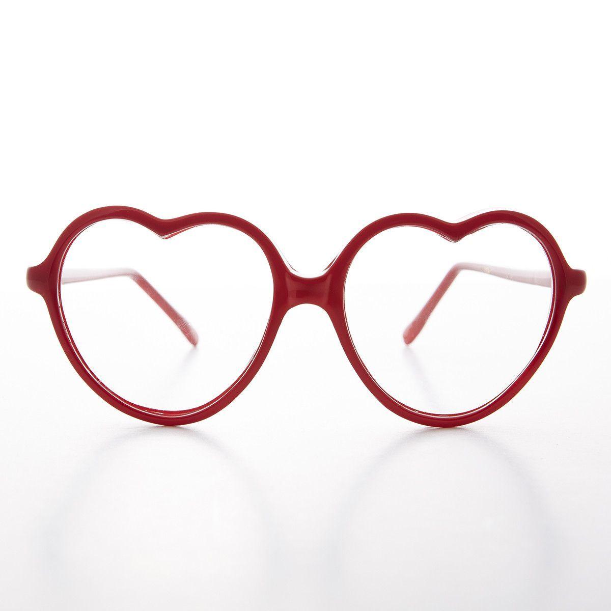 Lolita Heart Shaped Clear Lens Vintage Eyeglasses - Valentine ...