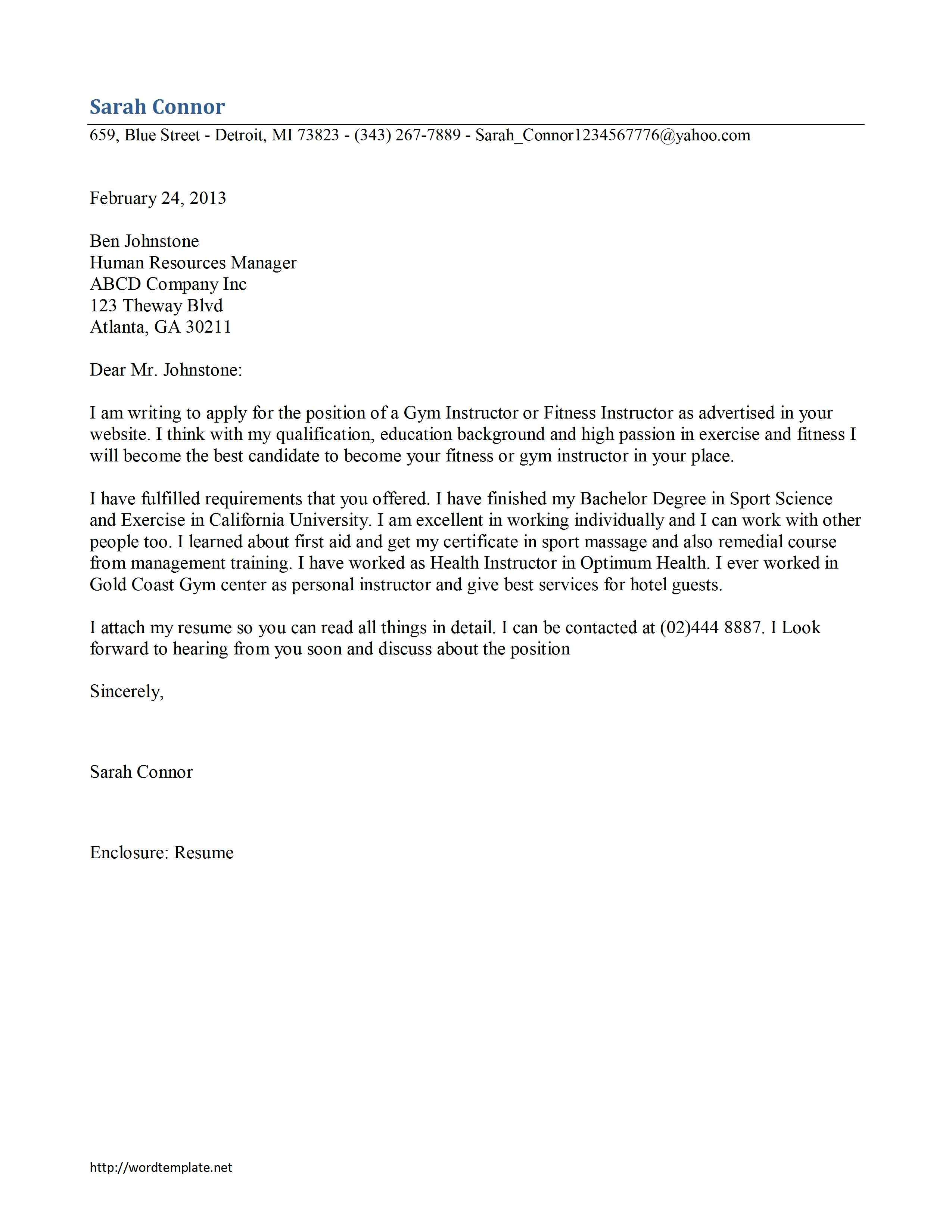 Charmant Gym Instructor Cover Letter Template