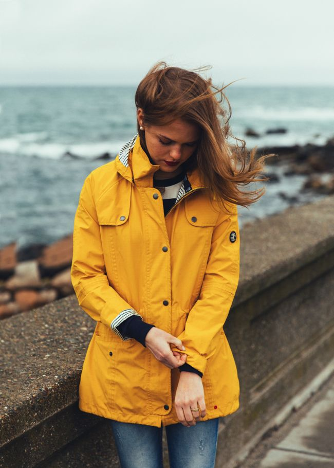 a7e9a0ea7 KJP beach ocean wall yellow rain jacket storm stormy stripes stripe ...