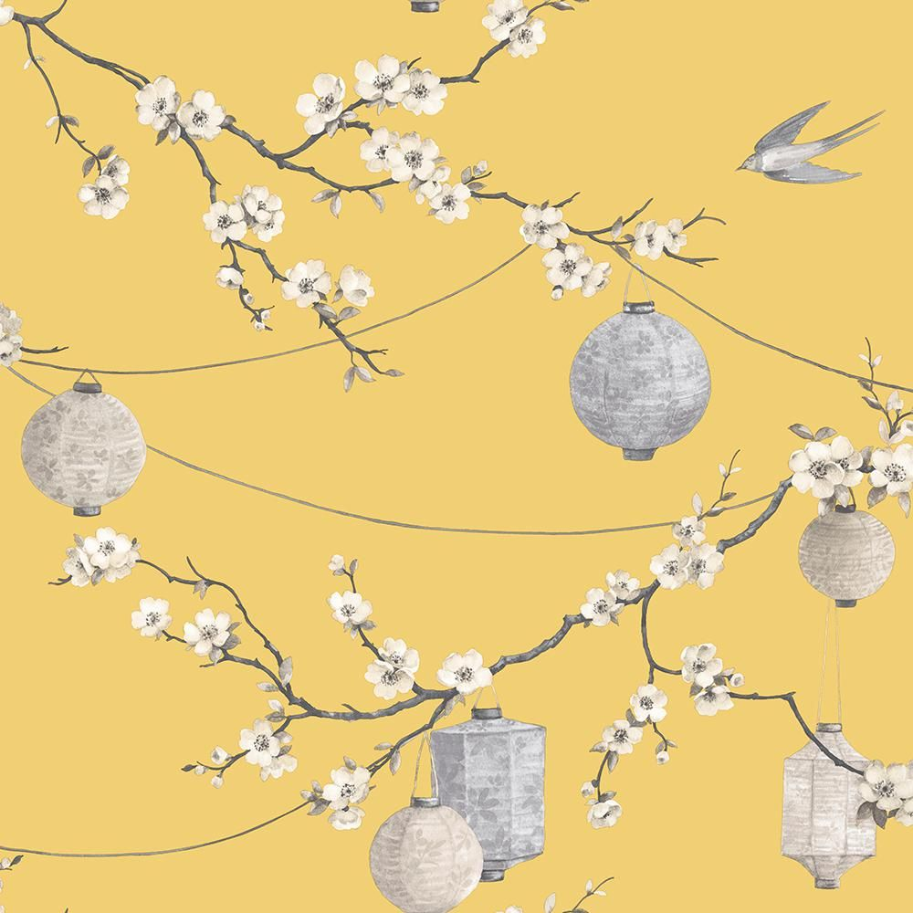 Oriental Floral Latterns Birds Arthouse Chinese Garden Yellow Wallpaper 695401