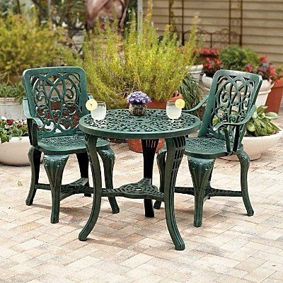 Charming Resin Bistro Set Has The Look Of Cast Iron Without The Weight.  Outdoor Dining Set Includes Table And 2 Chairs.