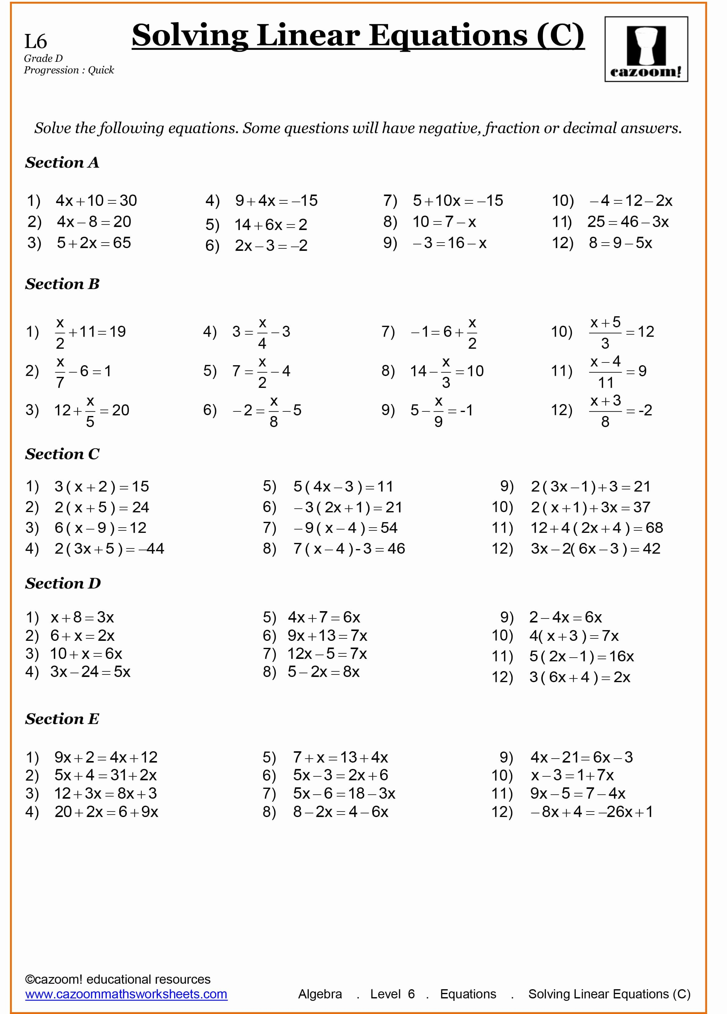 Solving Linear Equations Worksheet Unique Year 8 Maths