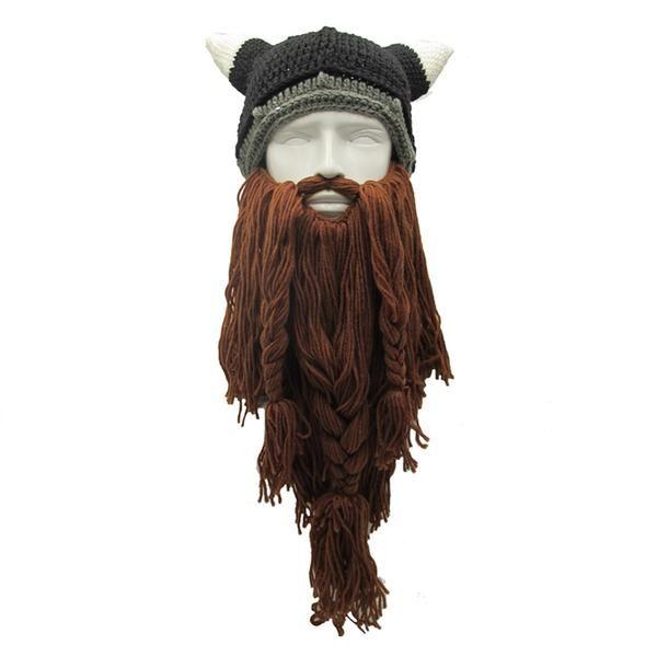Barbarian Viking Beard Beanie Horn Crochet Hats-Handmade | Look4ward ...