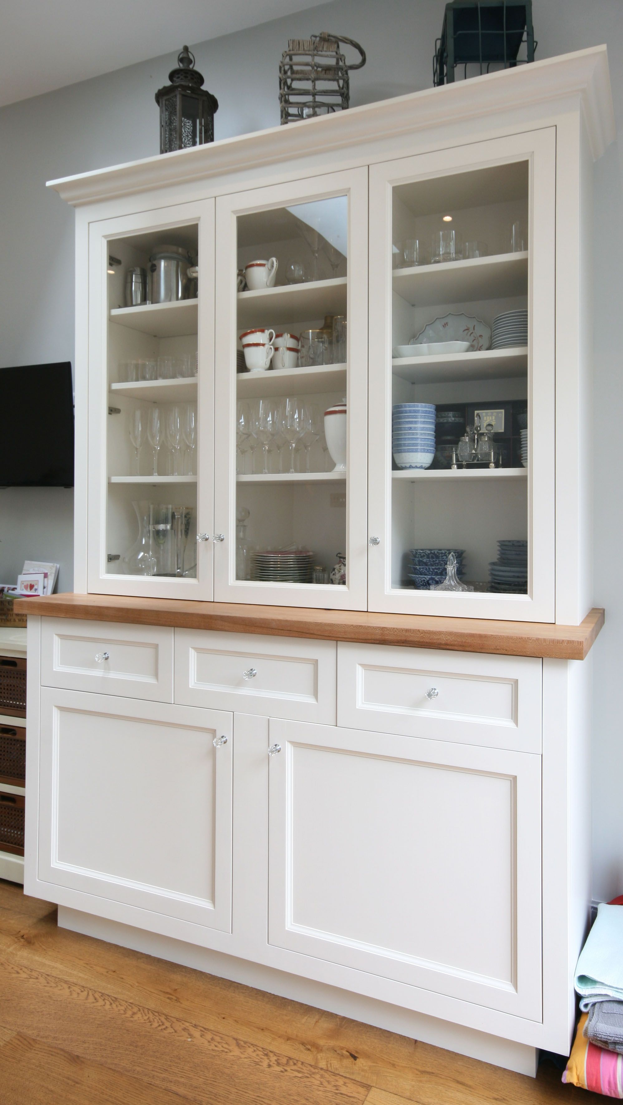 Kitchen Cabinet Made And Fitted With Glass Doors Above And Solid Panelled Doors And Drawers On The Lower Section Kitchencabi Cabinet Cabinet Doors Cabinetry