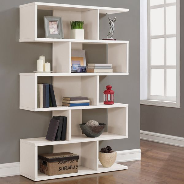 68 Inch White Solid Birch Veneer Bookshelf