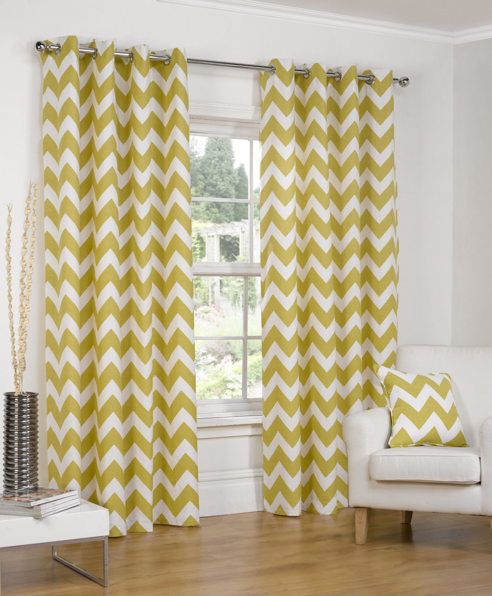 Chevron Ochre Ring Top Eyelet Lined Curtains 4 Your Home