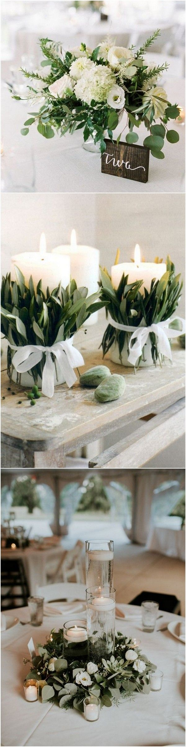 Diy decorations for wedding  Top  White and Greenery Wedding Centerpieces for   DIY