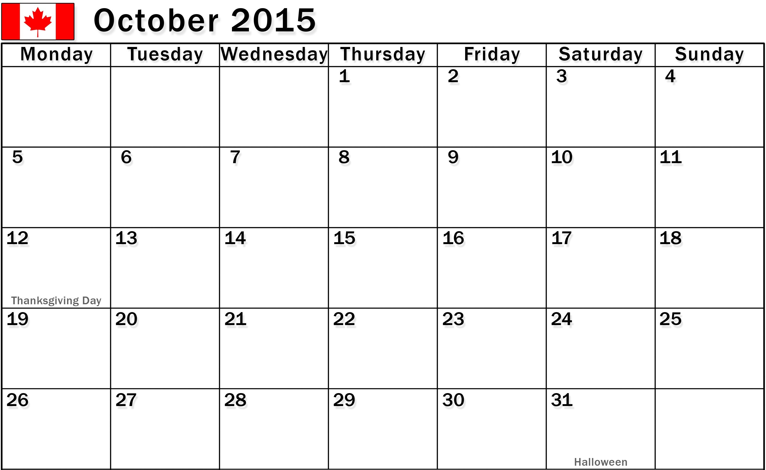 October Calendar Fillable Printable Pictures