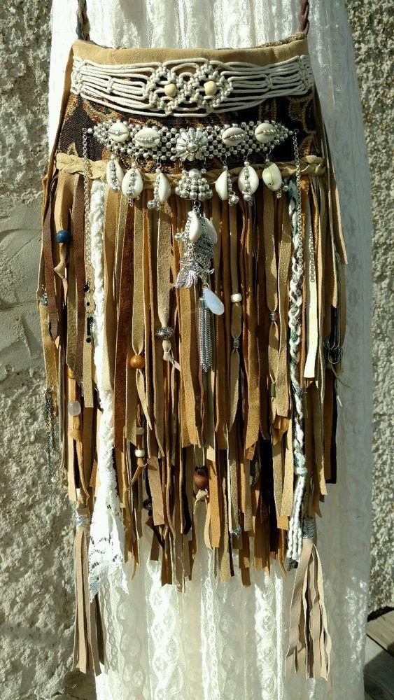 Handmade Tan Brown Suede Leather Cross Body Bag Hippie Boho Fringe Purse tmyers…