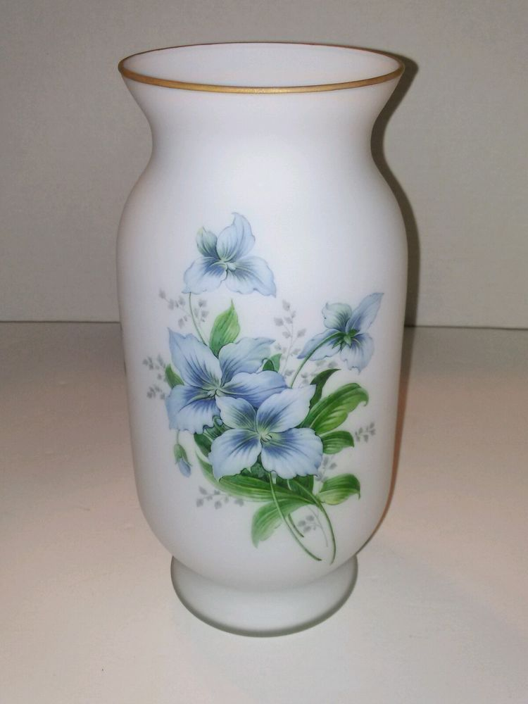 Norleans White Satin Glass Vase With Handpainted Flowers 10 Tall