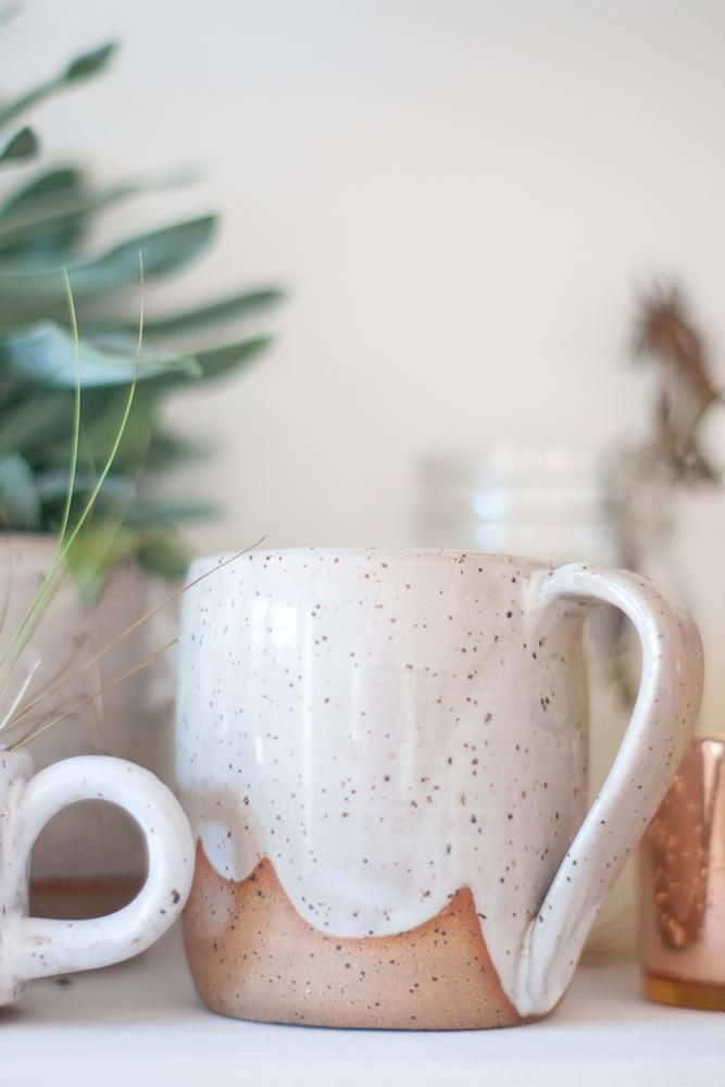 White Speckled Ceramic Clouds Mug - Gather Goods Co #ceramicmugs