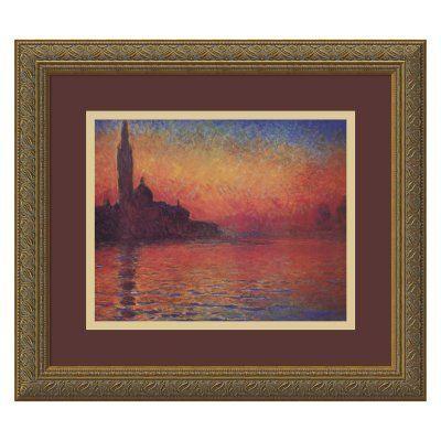 Dusk, Sunset in Venice, 1908 Framed Wall Art by Claude Monet - 16.12W x 14.12H in. - DSW01090, AMAT041-1