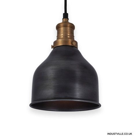 Brooklyn Vintage Small Metal Cone Lamp Shade Dark Pewter 7 Inch Ceiling Pendant Wire Pendant Light Industrial Ceiling Lights